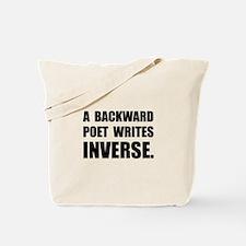 Poet Writes Inverse Tote Bag