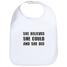 She Believed She Could Bib