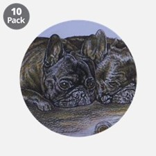 "French Bulldogs with Snail 3.5"" Button (10 pack)"