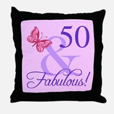 Fabulous 50th Birthday For Her Throw Pillow