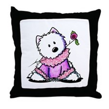 KiniArt Westie In Pink Throw Pillow