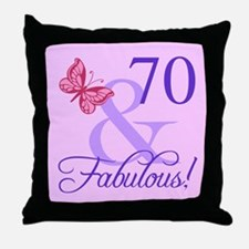 Fabulous 70th Birthday For Her Throw Pillow