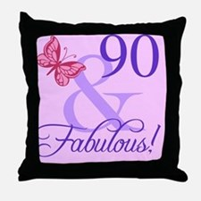 Fabulous 90th Birthday For Her Throw Pillow