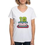 18 Year Old Birthday Cake Women's V-Neck T-Shirt