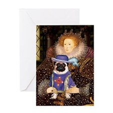 Queen Elizabeth I and Sir Pug Greeting Card