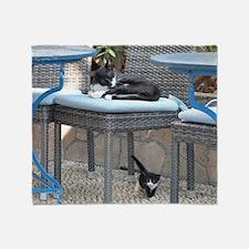 Cute Black white tuxedo kitty Throw Blanket