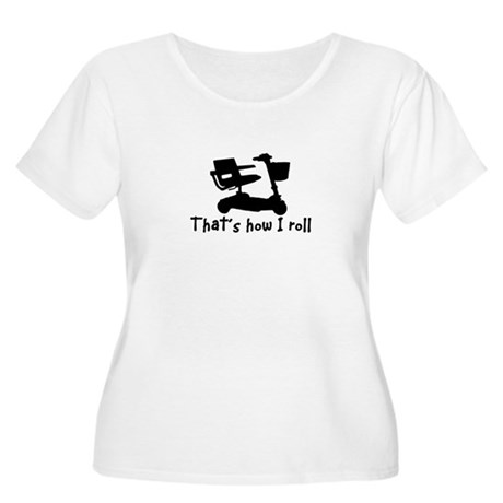 HOW I ROLL-SCOOTER Women's Plus Size Scoop Neck T-
