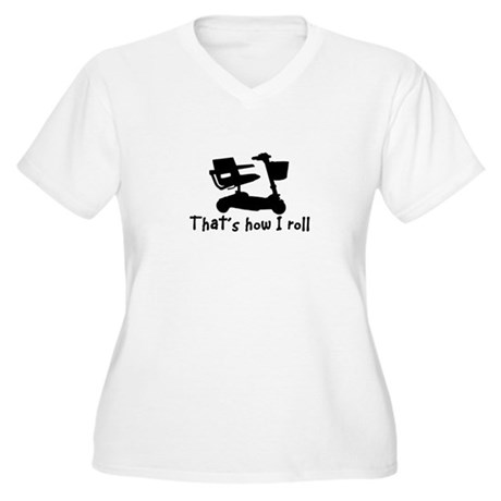 HOW I ROLL-SCOOTER Women's Plus Size V-Neck T-Shir