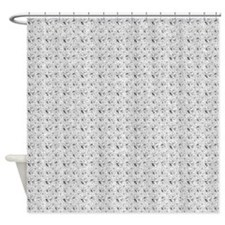 White Faux Glitter Shower Curtain
