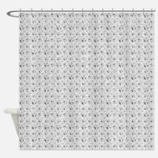 White Faux Glitter Shower Curtain
