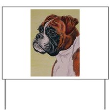 Red Boxer Dog headstudy Yard Sign