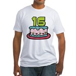 16 Year Old Birthday Cake Fitted T-Shirt
