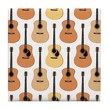 Acoustic Guitars Pattern Tile Coaster