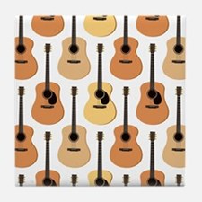 Acoustic Guitars Pattern Tile Coaster