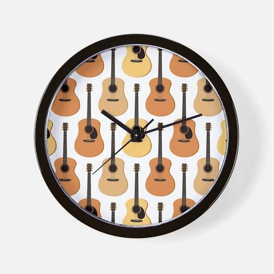 Acoustic Guitars Pattern Wall Clock