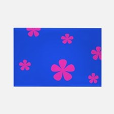 Retro 60s Flowers Pink and Blue Round Magnets