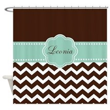 Brown Green Chevron Monogram Shower Curtain