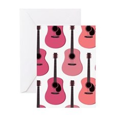 Pink Acoustic Guitars Pattern Greeting Card