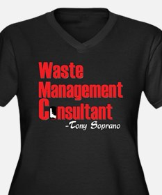 Waste Manage Women's Plus Size V-Neck Dark T-Shirt