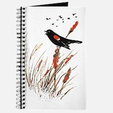 Watercolor Red Wing Blackbird Bird Nature Art Jour