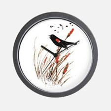 Watercolor Red Wing Blackbird Bird Nature Art Wall