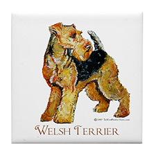 Welsh Terrier Design Tile Coaster