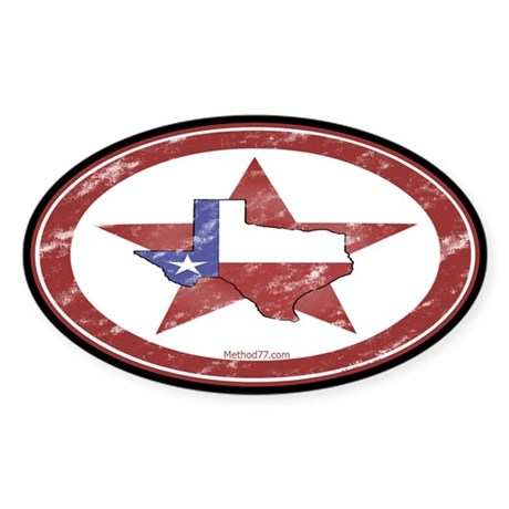 Texas Star Oval Sticker