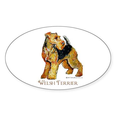 Welsh Terrier Design Oval Sticker