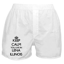 Keep calm you live in Lena Illinois Boxer Shorts