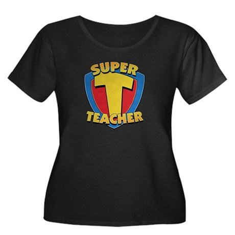 Super Teacher Womens Plus Size Scoop Neck Dark Tee