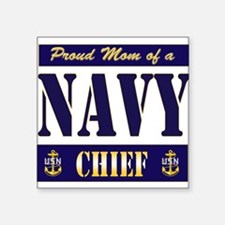 "Navy mom Square Sticker 3"" x 3"""