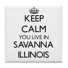 Keep calm you live in Savanna Illinoi Tile Coaster