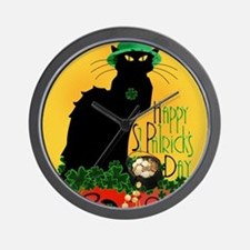 Chat Noir St Patricks Day Wall Clock