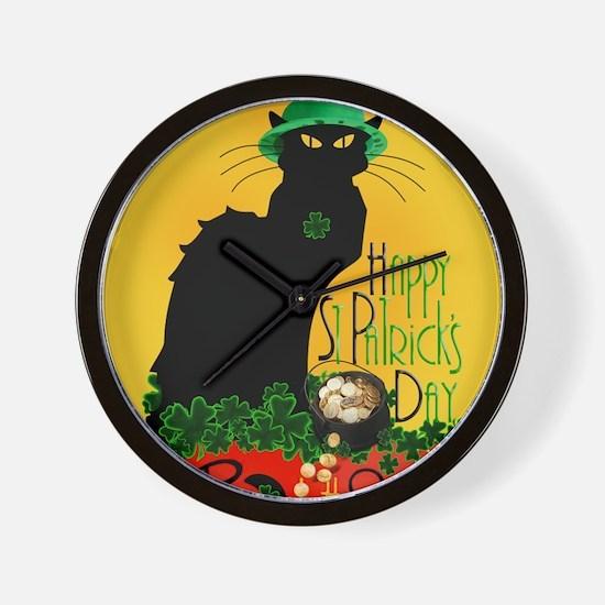 Chat Noir St Patricks Day Wall Clock