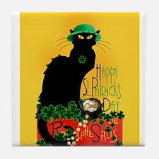 Chat Noir St Patricks Day Tile Coaster