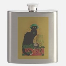 Chat Noir St Patricks Day Flask
