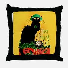 Chat Noir St Patricks Day Throw Pillow