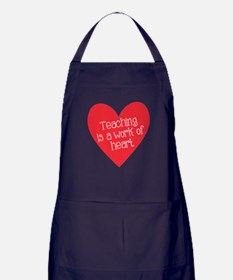 Red Teacher Heart Apron (dark)