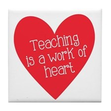 Red Teacher Heart Tile Coaster