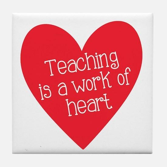 Red Teacher Heart Tile Coaster
