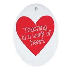 Red Teacher Heart Ornament (Oval)