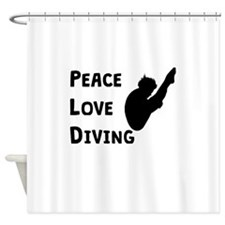 Peace Love Diving Shower Curtain