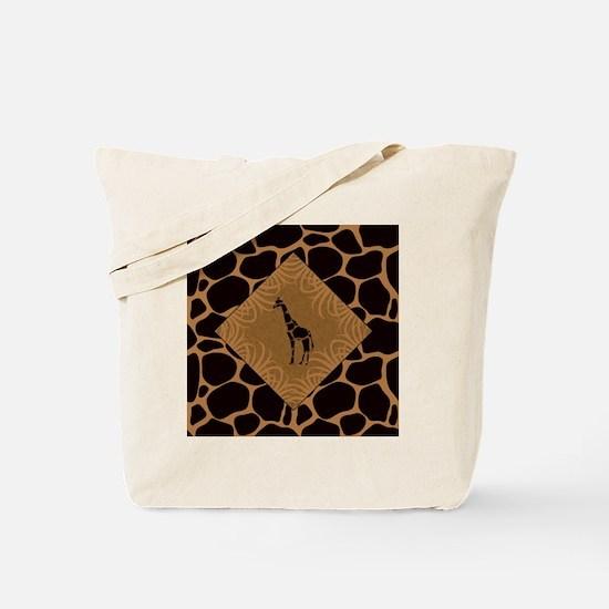 Giraffe with Animal Print Tote Bag