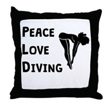 Peace Love Diving Throw Pillow