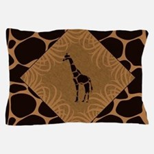 Giraffe with Animal Print Pillow Case