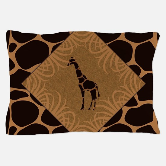 Giraffe with Animal Print Pillow Case