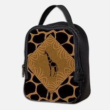 Giraffe with Animal Print Neoprene Lunch Bag