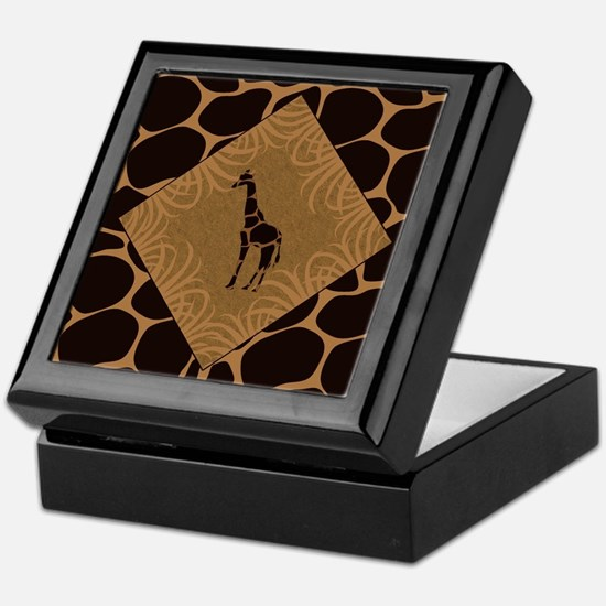 Giraffe with Animal Print Keepsake Box