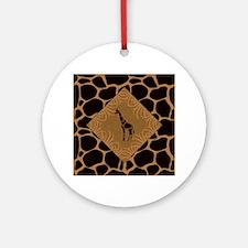 Giraffe with Animal Print Ornament (Round)