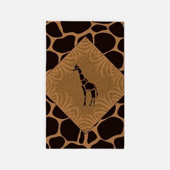 Giraffe with Animal Print Area Rug